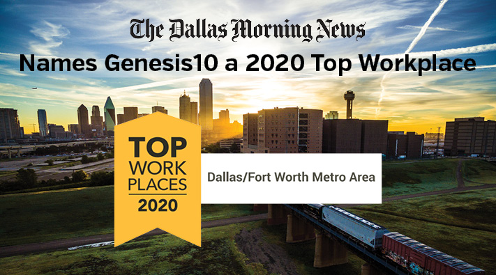 Dallas news names Genesis10 a 2020 top workplace-News