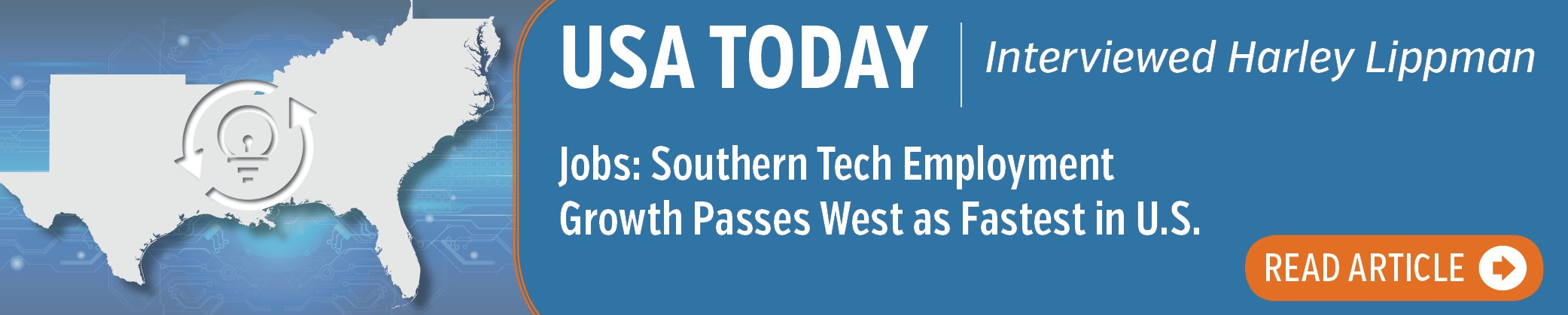 USA TODAY - obs: Southern Tech Employment Growth Passes West as Fastest in U.S.