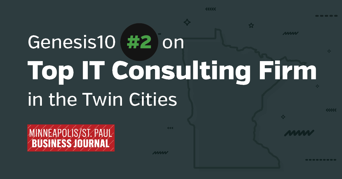 Genesis10 is number 2 on top IT consulting Firm in the Twin Cities