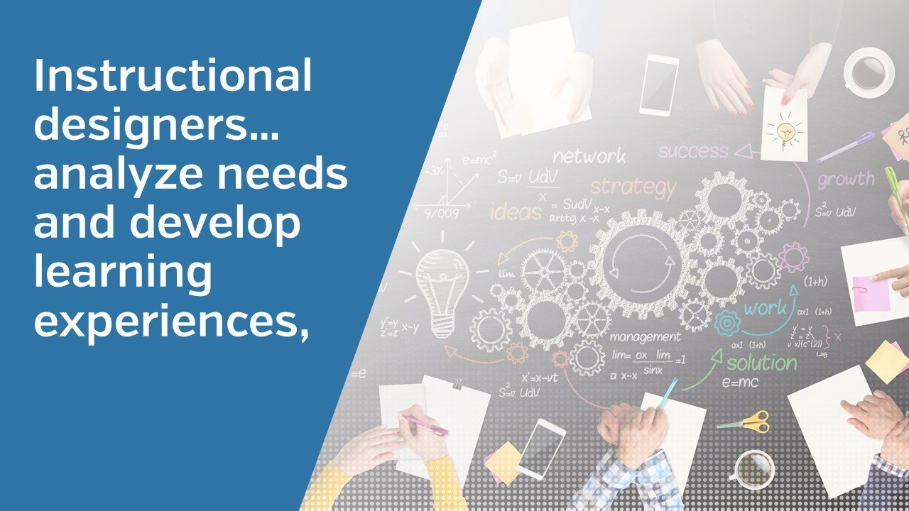 Instructional designers…analyze needs and develop learning experiences,